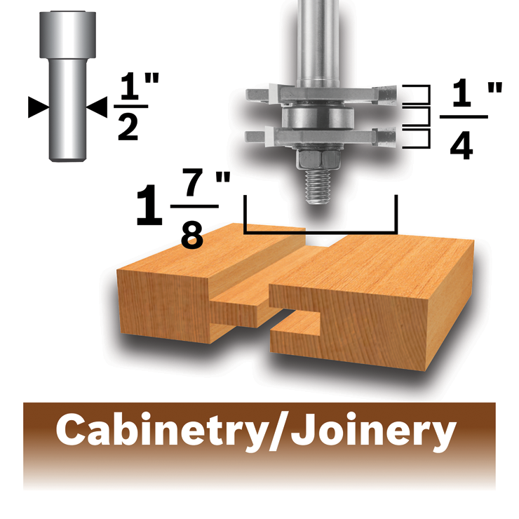 84624MC 1-7/8 In. x 1/4 In. Carbide-Tipped Tongue and Groove Router Bit
