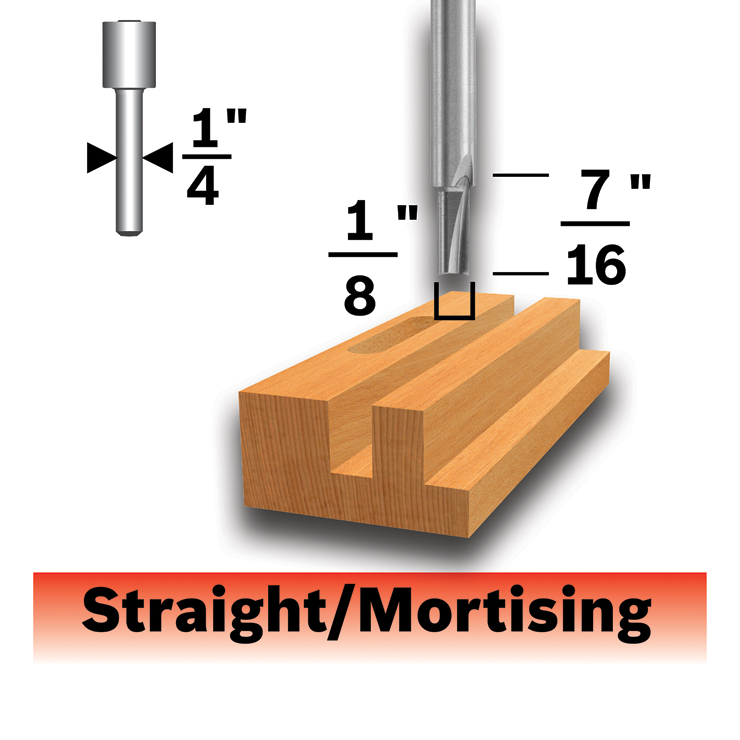 85213MC 1/8 In. x 1/2 In. Solid Carbide Double-Flute Straight Router Bit