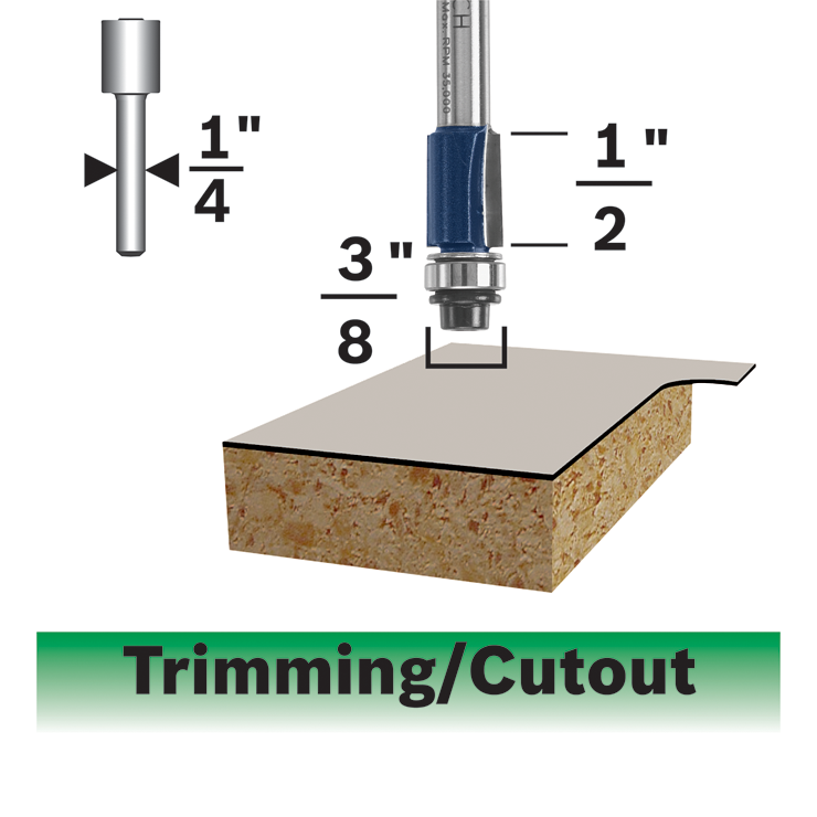 85269MC 3/8 In. x 1/2 In. Carbide-Tipped Double-Flute Flush Trim Router Bit