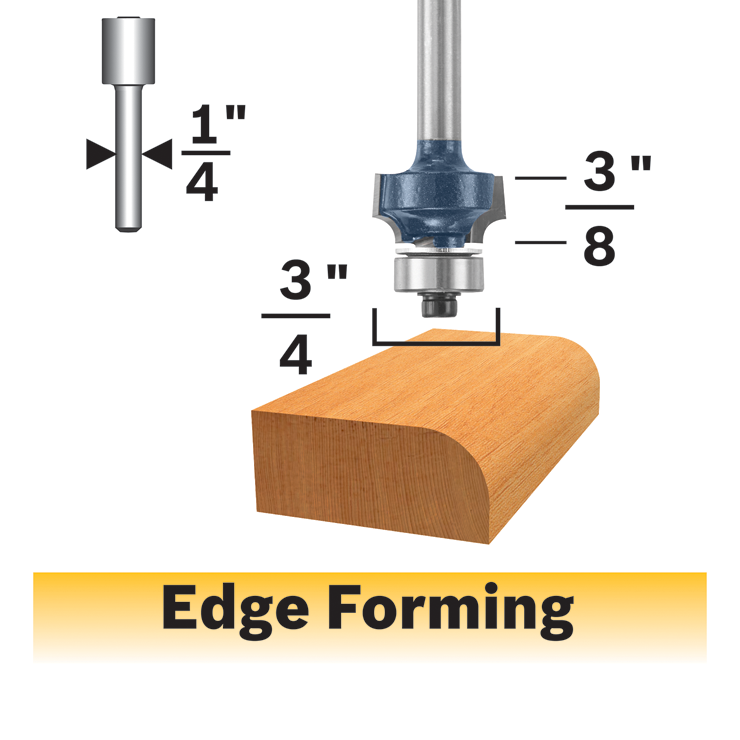 85290MC 1/8 In. x 3/8 In. Carbide-Tipped Roundover Router Bit
