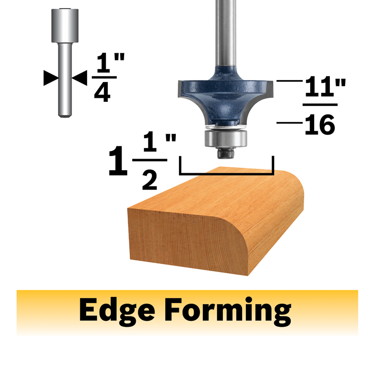 85297MC 1/2 In. x 11/16 In. Carbide-Tipped Roundover Router Bit
