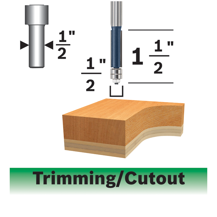 85601MC 1/2 In. x 1-1/2 In. Carbide-Tipped Double-Flute Template Trim Router Bit
