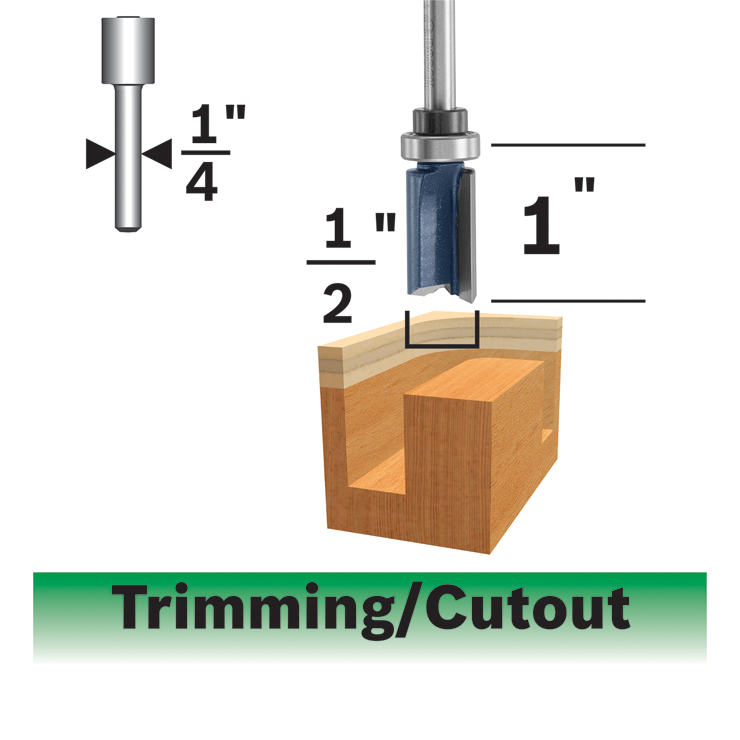 85680MC 1/2 In. x 1 In. Carbide-Tipped Double-Flute Top-Bearing Straight Trim Router Bit