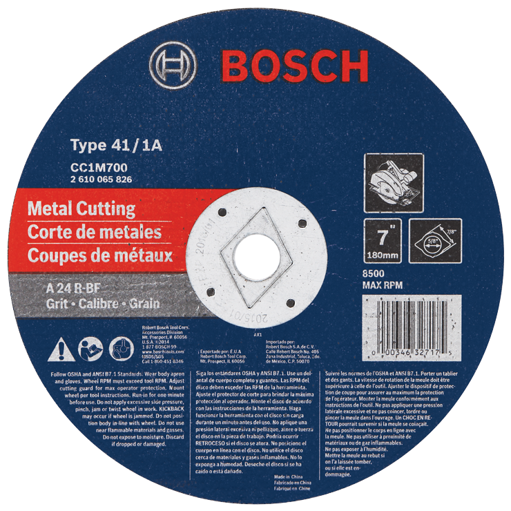 CC1M700 7 In. x 1/8 In. 7/8 In. Arbor Type 1A (ISO 41) 24 Grit Metal Cutting Grinding Wheel