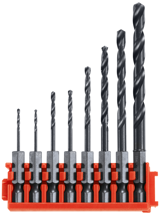 CCSDV08 8 pc. Impact Tough™ Black Oxide Drill Bits with Clip for Custom Case System