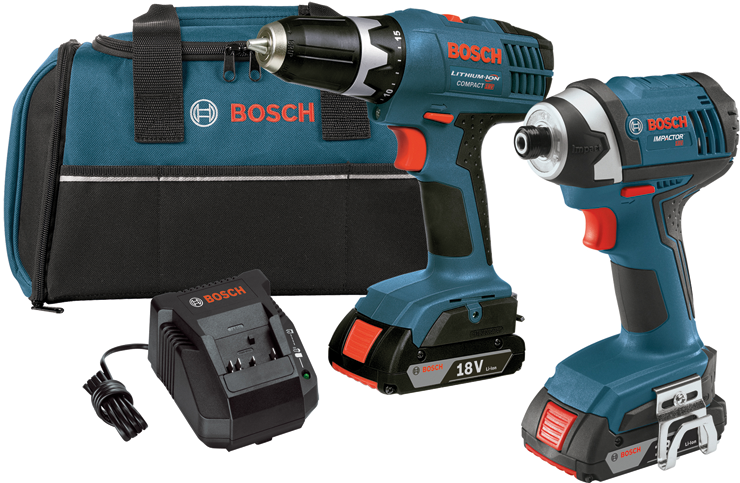 CLPK25-180 18-volt Lithium-Ion 2-Tool Combo Kit with 3/8-Inch Drill/Driver, 1/4-Inch Hex Impact Driver, 2 Slim Pack Batteries, Charger and Case