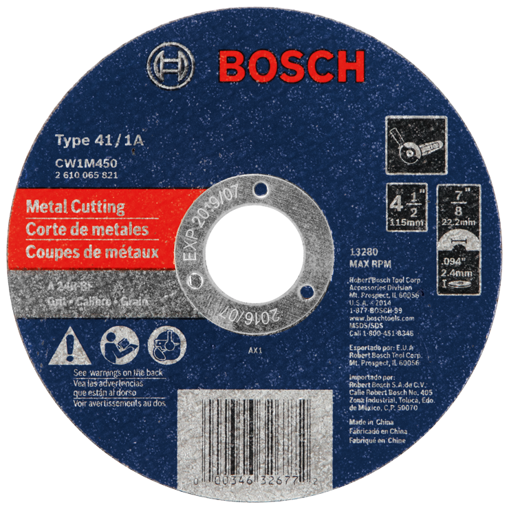 CW1M450 4-1/2 In. 3/32 In. 7/8 In. Arbor Type 1A (ISO 41) 24 Grit Metal Cutting Abrasive Wheel