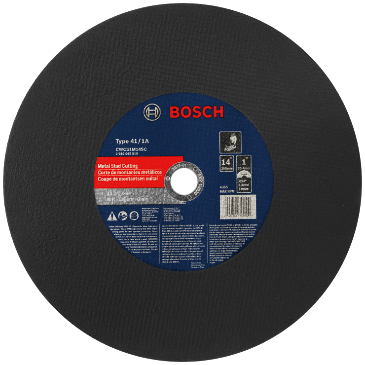 CWCS1M14SC 14 In. 3/32 In. 1 In. Arbor Type 1A (ISO 41) 36 Grit Metal Stud/Stainless Cutting Bonded Abrasive Wheel