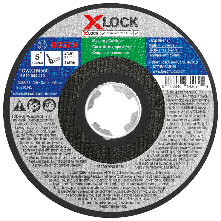CWX1M500 5 In. x 1/16 In. X-LOCK Arbor Type 1A (ISO 41) 24 Grit Masonry Cutting Abrasive Wheel