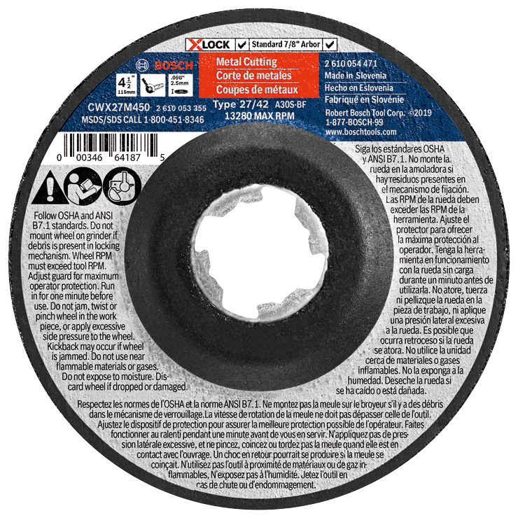 CWX27M450 4-1/2 In. x .098 In. X-LOCK Arbor Type 27A (ISO 42) 30 Grit Metal Cutting and Grinding Abrasive Wheel