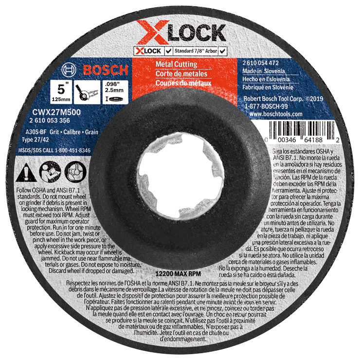 CWX27M500 5 In. x .098 In. X-LOCK Arbor Type 27A (ISO 42) 30 Grit Metal Cutting and Grinding Abrasive Wheel