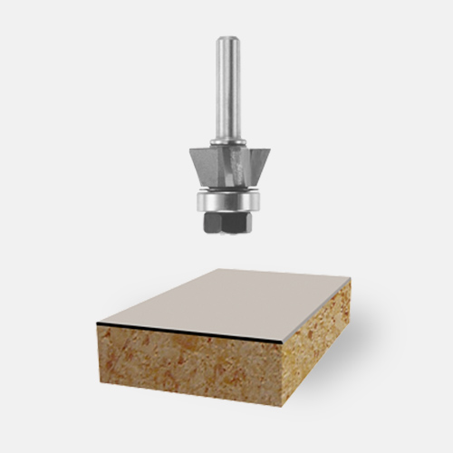 Carbide-Tipped Triple-Flute Flush and Bevel Laminate Trim Assemblies