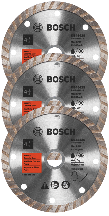 DB4542SB3 3 pc. 4-1/2 In. Standard Turbo Rim Diamond Blade for Smooth Cuts
