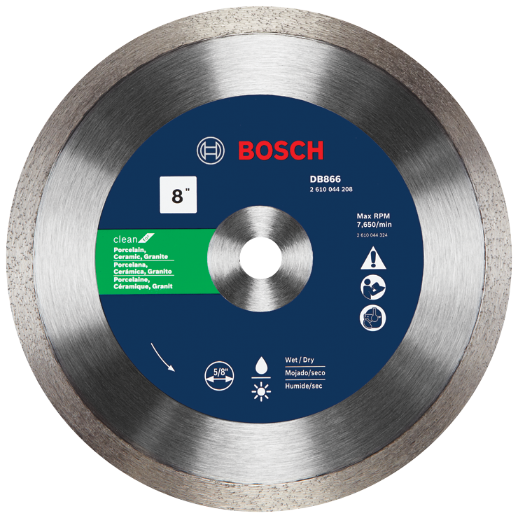 DB866 8 In. Rapido™ Premium Continuous Rim Diamond Blade for Porcelain Tile