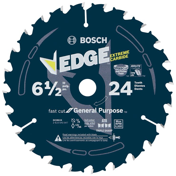 DCB624 6-1/2 In. 24 Tooth Edge Circular Saw Blade for General Purpose