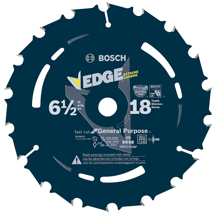 DCB618 6-1/2 In. 18 Tooth Edge Circular Saw Blade for Fast Cuts