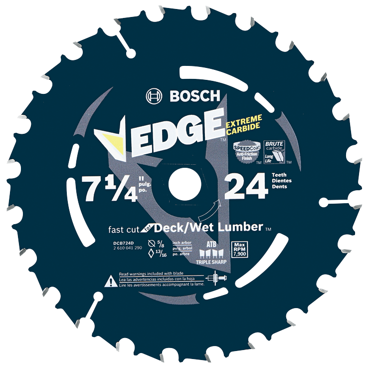 DCB724D 7-1/4 In. 24 Tooth Edge Circular Saw Blade for Wet Lumber