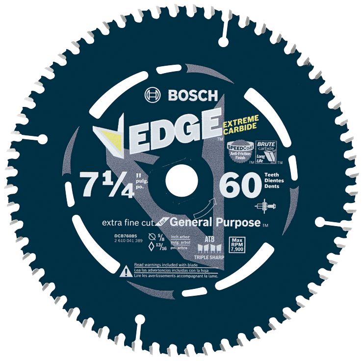 DCB760 7-1/4 In. 60 Tooth Edge Circular Saw Blade for Extra-Fine Finish