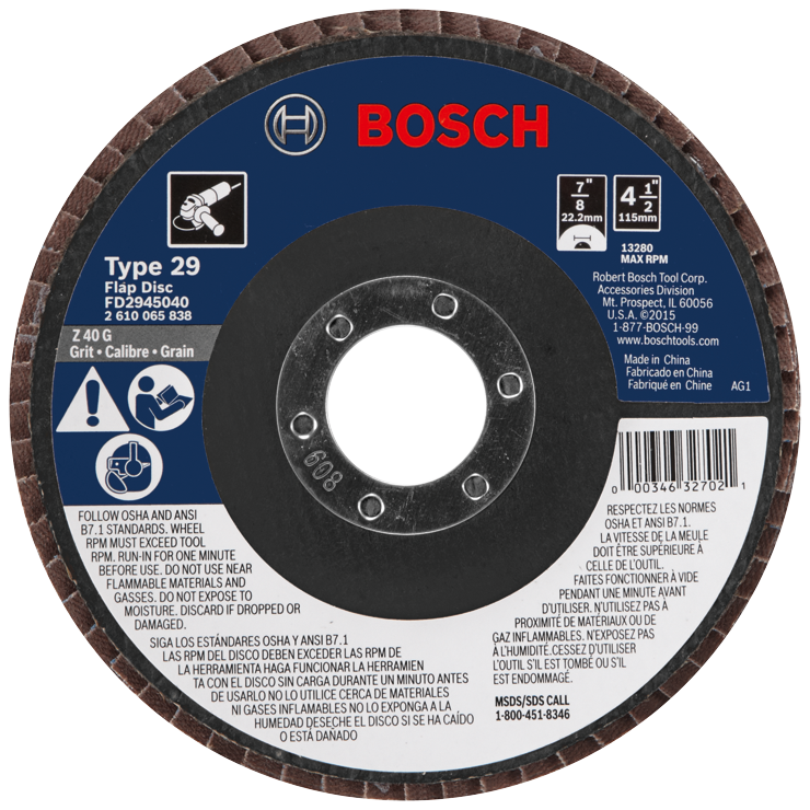 FD2945040 4-1/2 In. 7/8 In. Arbor Type 29 40 Grit Blending/Grinding Abrasive Wheel