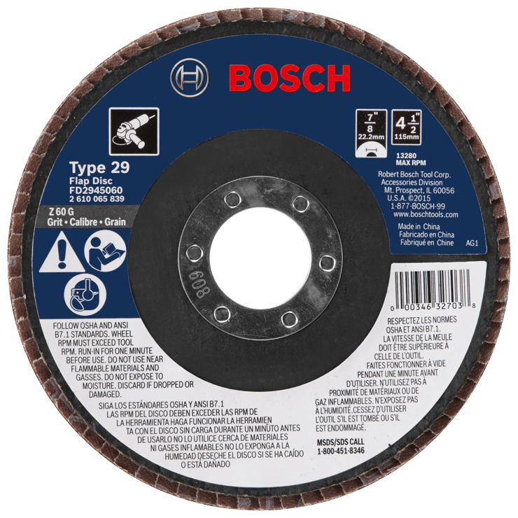 FD2945060 4-1/2 In. 7/8 In. Arbor Type 29 60 Grit Blending/Grinding Abrasive Wheel