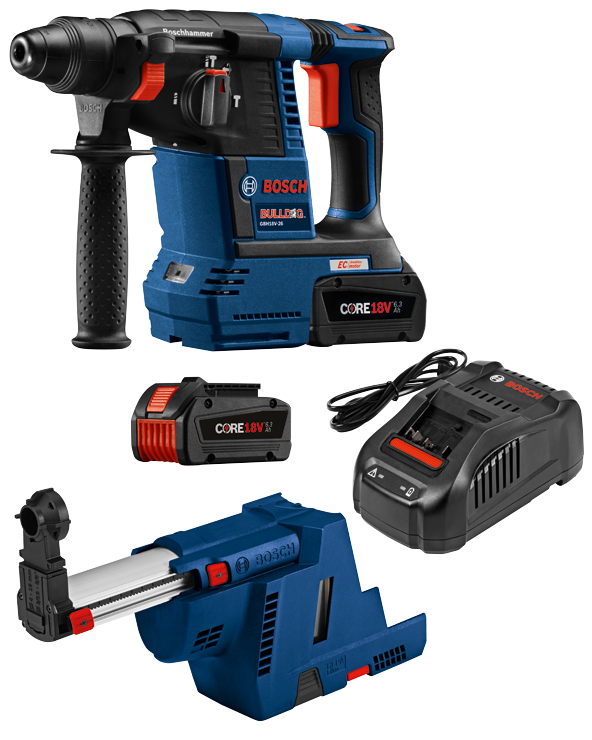 GBH18V-26K24GDE 18V EC Brushless SDS-plus® Bulldog™ 1 In. Rotary Hammer Kit with Dust Collection Attachment