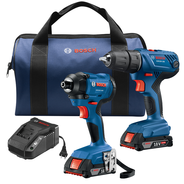 GXL18V-26B22 18V 2-Tool Combo Kit with Compact 1/2 In. Drill/Driver, 1/4 In. Hex Impact Driver and (2) 2.0 Ah SlimPack Batteries