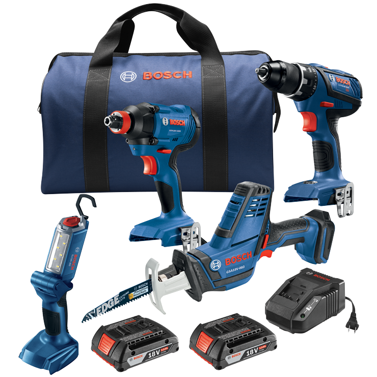 GXL18V-496B22 18 V 4-Tool Combo Kit with Compact Tough 1/2 In. Drill/Driver, 1/4 In. and 1/2 In. Two-In-One Bit/Socket Impact Driver, Compact Reciprocating Saw and LED Worklight