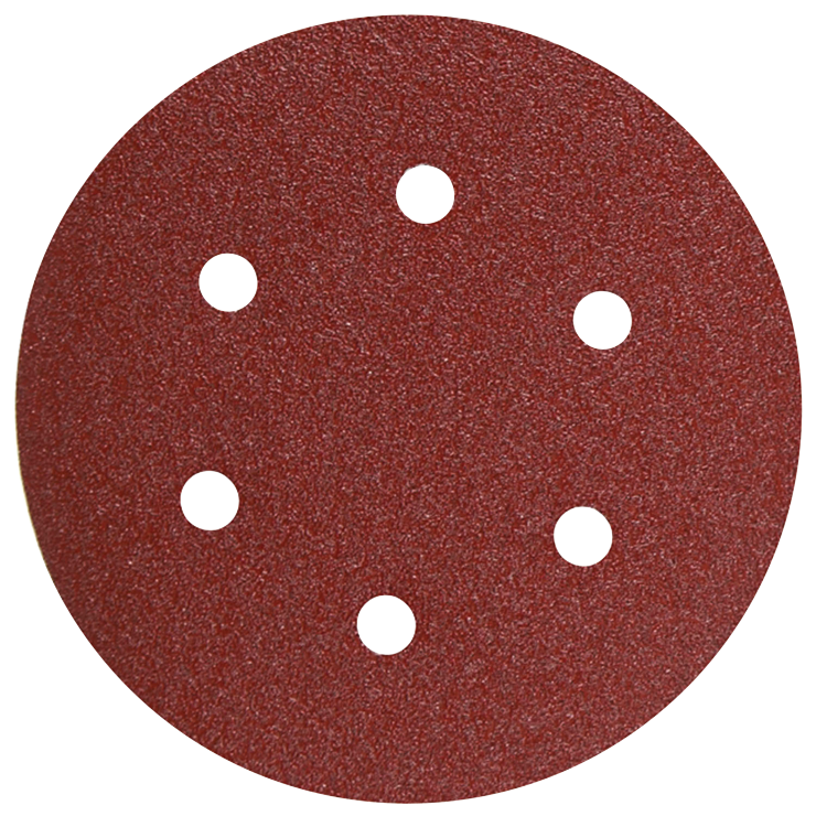 SR6R120 5 pc. 120 Grit 6 In. 6 Hole Hook-And-Loop Sanding Discs