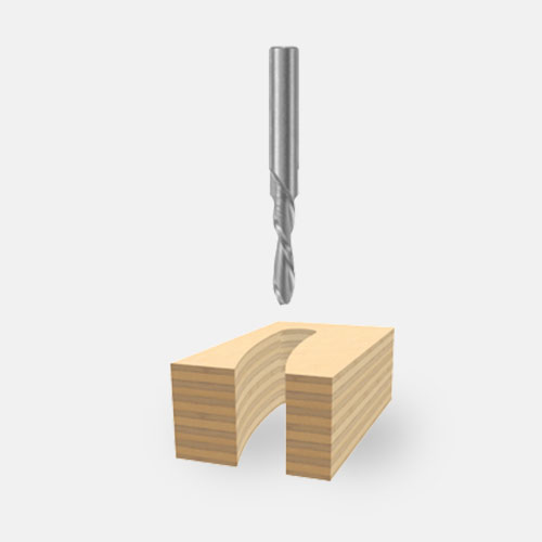 Solid Carbide Double-Flute Downcut Spiral Bits
