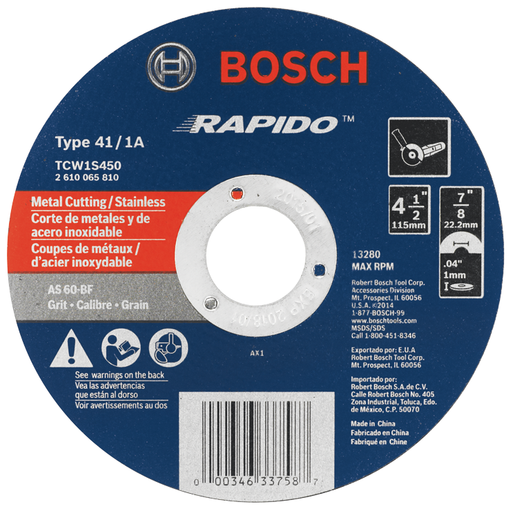 TCW1S450 4-1/2 In. .040 In. 7/8 In. Arbor Type 1A (ISO 41) 60 Grit Rapido™ Fast Metal/Stainless Cutting Abrasive Wheel