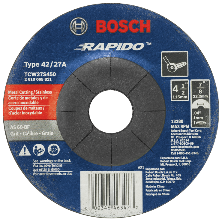 TCW27S450 4-1/2 In. .045 In. 7/8 In. Arbor Type 27A (ISO 42) 60 Grit Rapido™ Fast Fast Metal/Stainless Cutting Abrasive Wheel