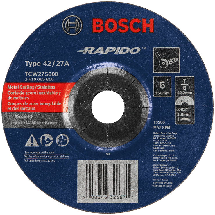 TCW27S600 6 In. 1/16 In. 7/8 In. Arbor Type 27A (ISO 42) 46 Grit Rapido™ Fast Metal/Stainless Cutting Abrasive Wheel