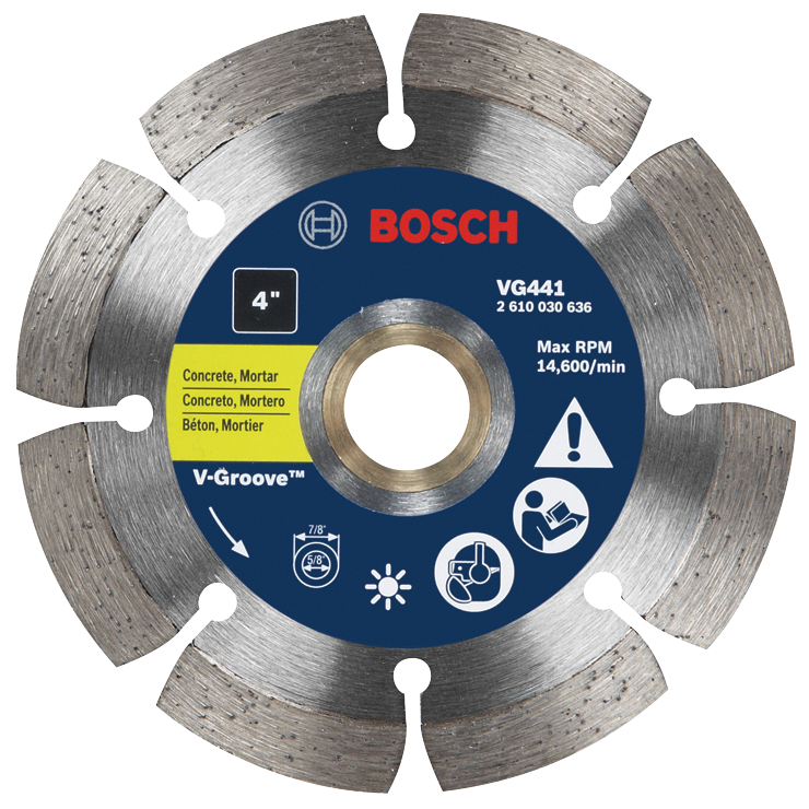 VG441 4 In. Segmented Rim V-Groove Diamond Blade for Universal Rough Cuts