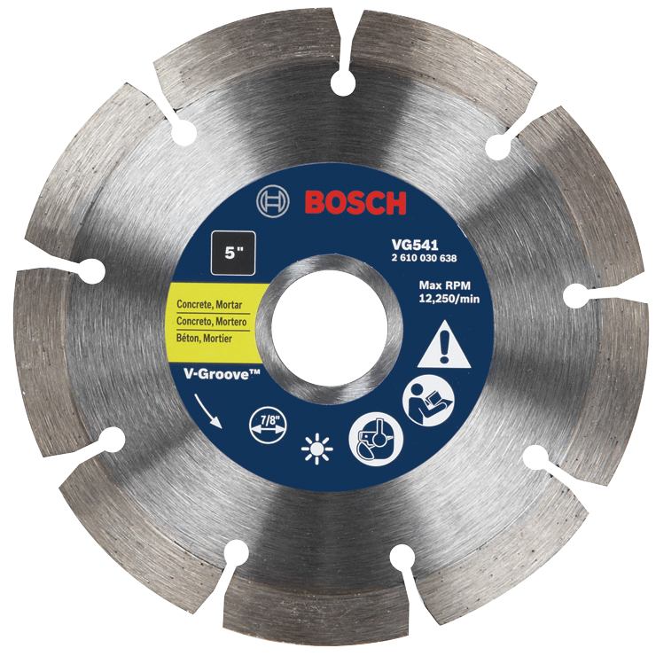 VG541 5 In. Segmented Rim V-Groove Diamond Blade for Universal Rough Cuts