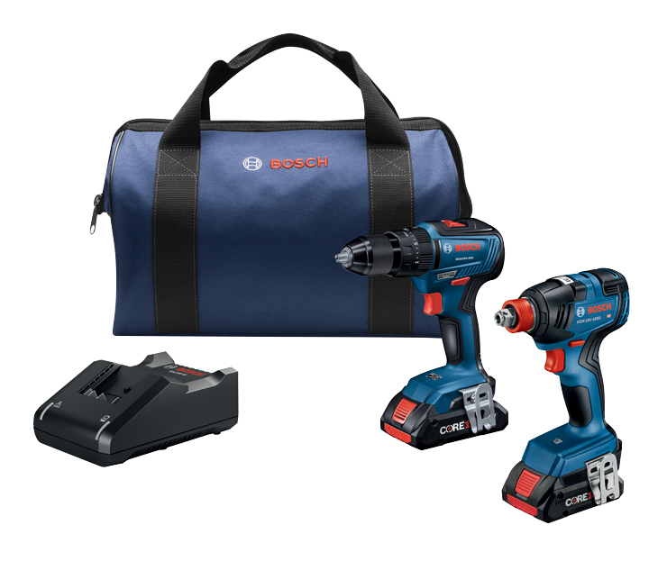GXL18V-233B25 18V 2-Tool Combo Kit with 1/2 In. Hammer Drill/Driver, Freak 1/4 In. and 1/2 In. Two-in-One Bit/Socket Impact Driver and (2) CORE18V 4.0 Ah Compact Batteries