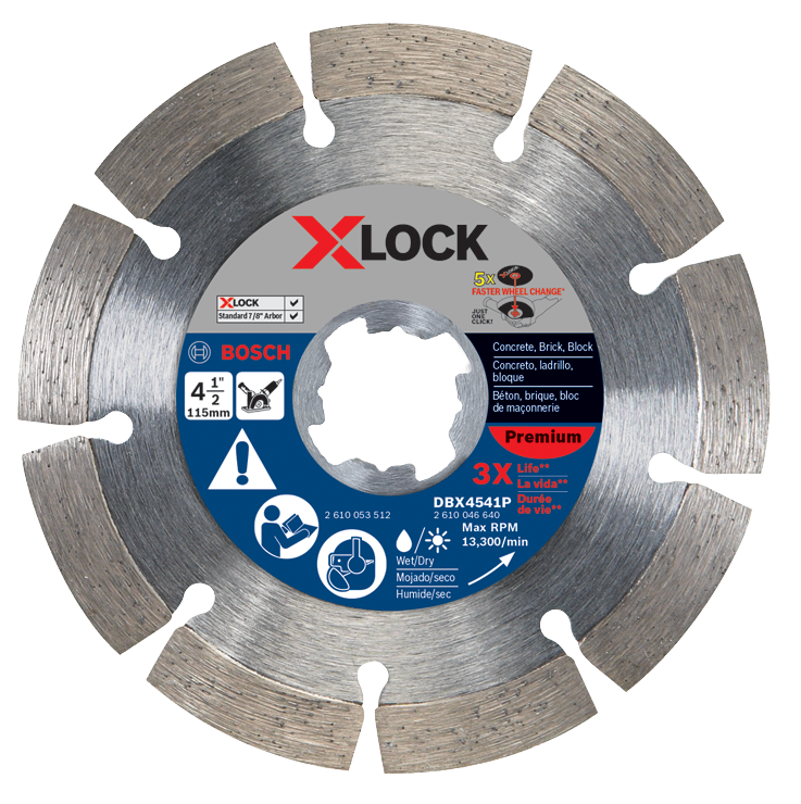 DBX4541P 4-1/2 In. X-LOCK Premium Segmented Diamond Blade