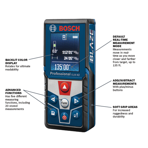 Glm 42 Blaze 135 Ft Laser Measure With Color Display Bosch Power Tools