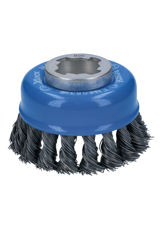 WBX328 3 In. Wheel Dia. X-LOCK Arbor Carbon Steel Knotted Wire Single Row Cup Brush