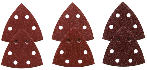 SDTR000 3-1/2 In. Assorted Grits 6 pc. Red Detail Sander Abrasive Triangles for Wood