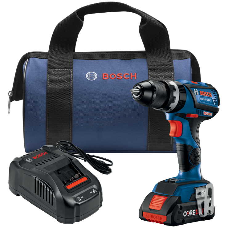 GSB18V-535CB15 Perceuse-visseuse à percussion 18 V EC Connected-Ready Compact Tough sans balais de 1/2 po avec (1) batterie compacte de 4,0 Ah CORE18 V