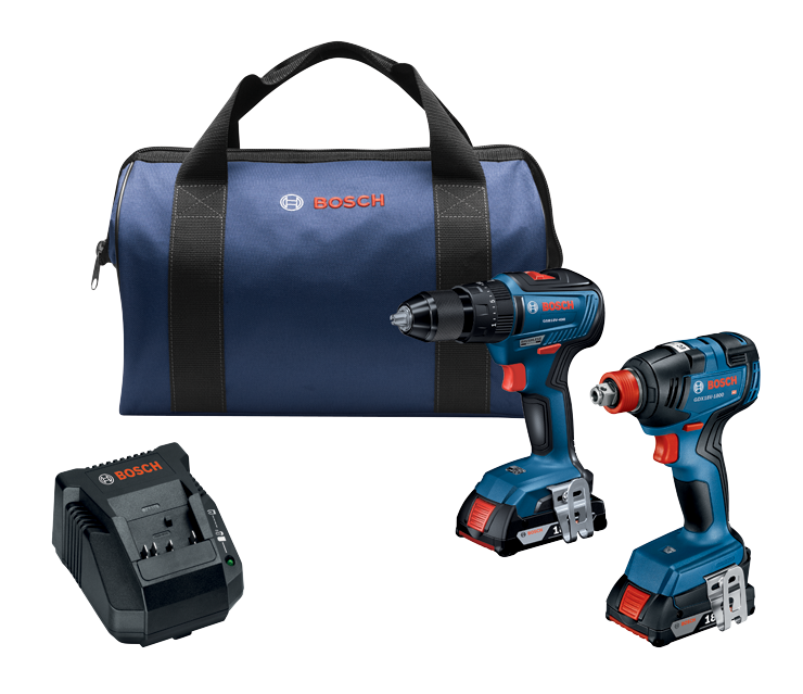GXL18V-240B22 18V 2-Tool Combo Kit with 1/2 In. Hammer Drill/Driver, Freak 1/4 In. and 1/2 In. Two-In-One Bit/Socket Impact Driver and (2) 2.0 Ah SlimPack Batteries