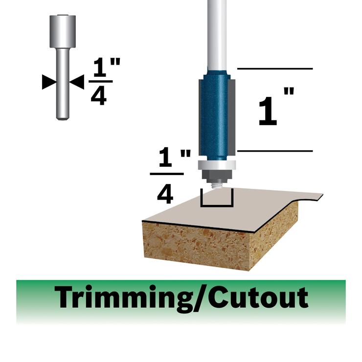 Carbide Tip 1//4 Shank with Baring Bosch 85269M Laminate Trim Bit 3//8