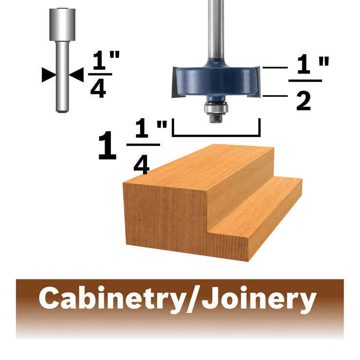 85218MC 3/8 In. x 1/2 In. Carbide-Tipped Rabbeting Router Bit