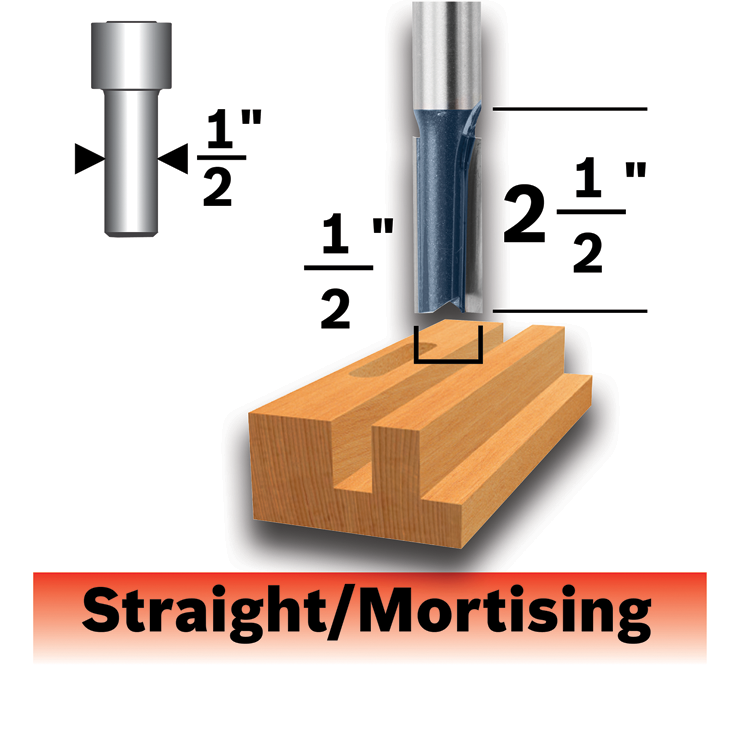 85252MC 1/2 In. x 2-1/2 In. Carbide-Tipped Double-Flute Straight Router Bit