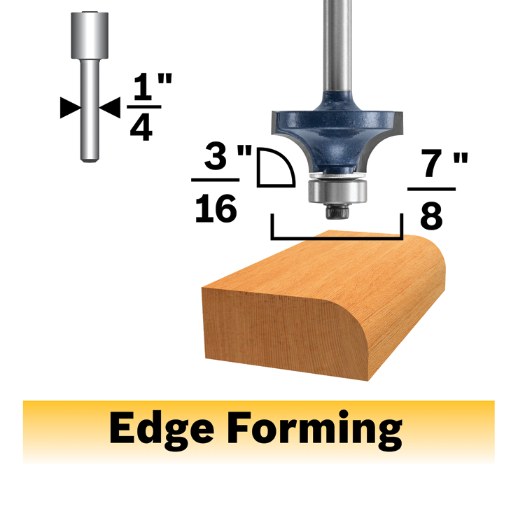 85293MC 3/16 In. x 1/2 In. Carbide-Tipped Roundover Router Bit