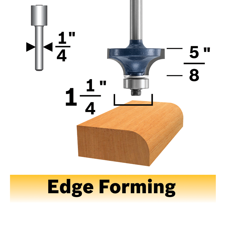 85296MC 3/8 In. x 5/8 In. Carbide-Tipped Roundover Router Bit
