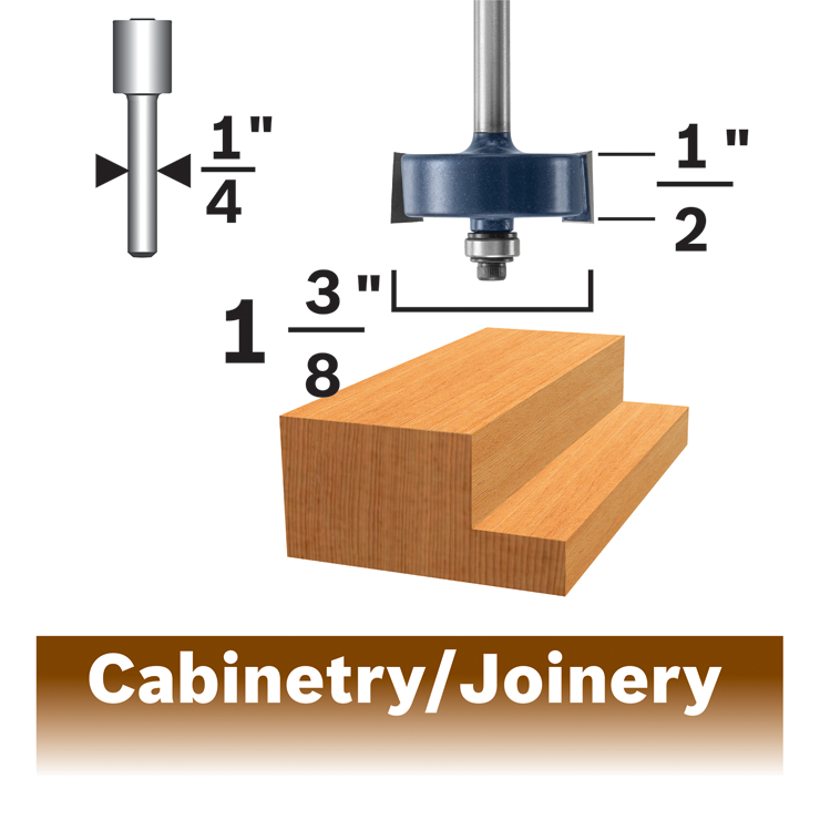 85614MC 1/2 In. x 1/2 In. Carbide-Tipped Rabbeting Router Bit