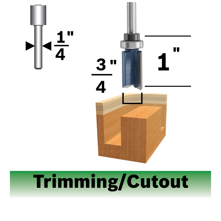 85682MC 3/4 In. x 1 In. Carbide-Tipped Double-Flute Top-Bearing Straight Trim Router Bit