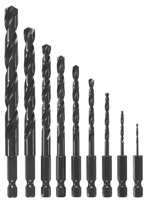 BL9IM 9 pc. Impact Tough™ Black Oxide Drill Bit Set