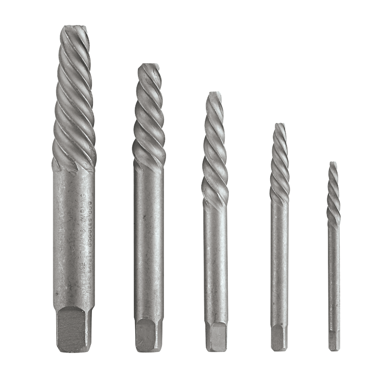 BSPE5S 5 pc. High-Carbon Steel Spiral Flute Screw Extractor Set
